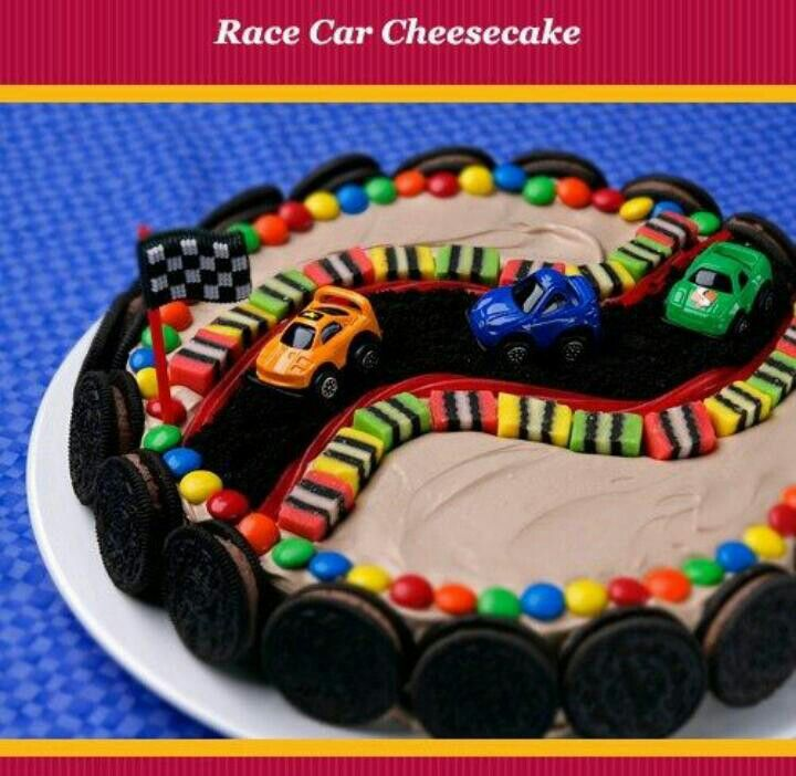 Race Car Themed Birthday Cake & Cake Stand