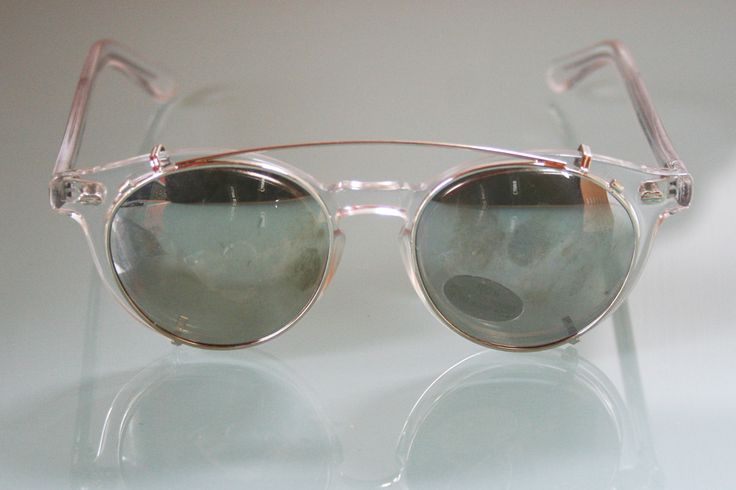 The Old Glasses Shop - Clear Round Vintage Prescription Glasses by Polaroid with Clip On Sunglasses, £109.00…