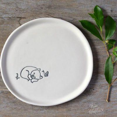 Bush Prints Collection ~ Wombat plate    A collaboration between artist Renée Treml and Kim Wallace Ceramics ~ Handmade Australian Ceramics