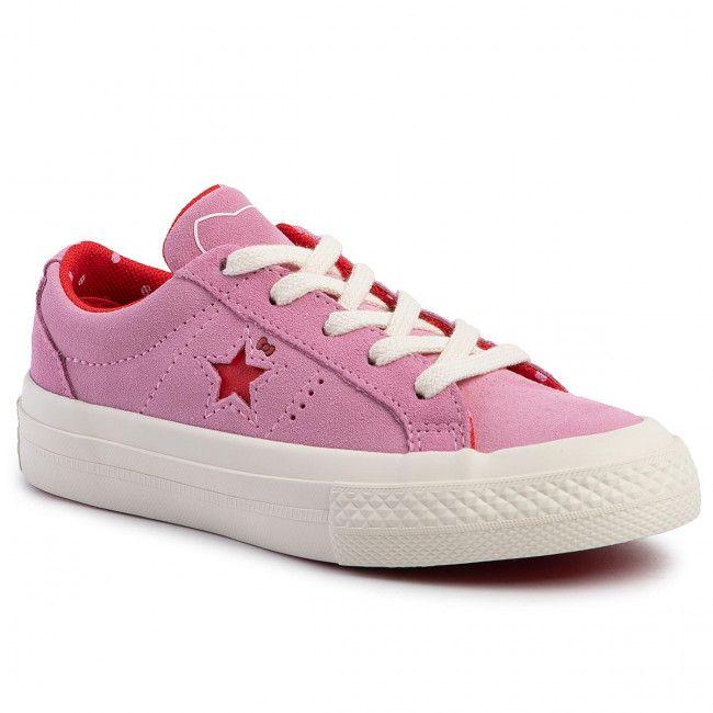 Tenisowki Converse One Star Ox 362941c Prism Pink Fiery Red Egret Sznurowane Polbuty Dziewczynka Dzieciece E Converse One Star Converse Converse Ox