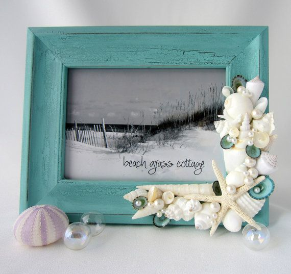 Change colors and could easily make for photo booth, table numbers, name plate and couples pic    Seashell Frame Beach Decor   Nautical Shell by beachgrasscottage, $69.00