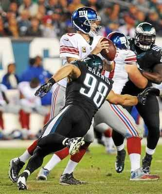 Eagles defensive end Connor Barwin (98), shown sacking Giants quarterback Eli Manning, said that crowd noise at Lincoln Financial Field gives the Birds an advantage against opposing defenses.