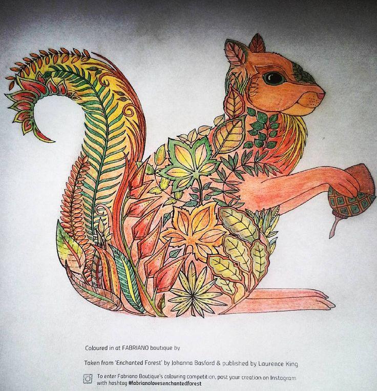 Fabrianolovesenchantedforest Colorful Squirrel Coloringbook Kolorowankadladorosych Kolorowanka Pencils