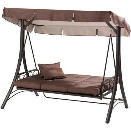 Brown 3 Seat Converting Outdoor Patio Swing Hammock With Canopy Sun Sh – Vick's Great Deals