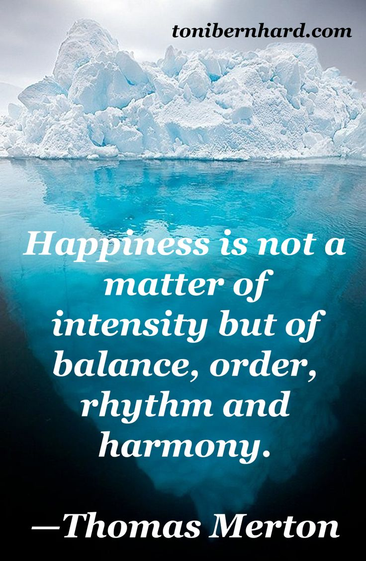 """Happiness is not a matter of intensity but of balance, order, rythm and harmony."""