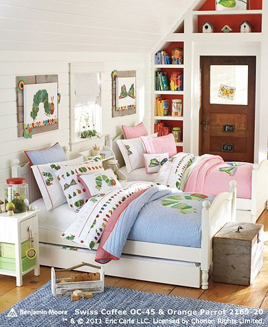 Boy Girl Sharing Room Ideas Eric Carle Inspired Artwork And Bedding Pottery Barn