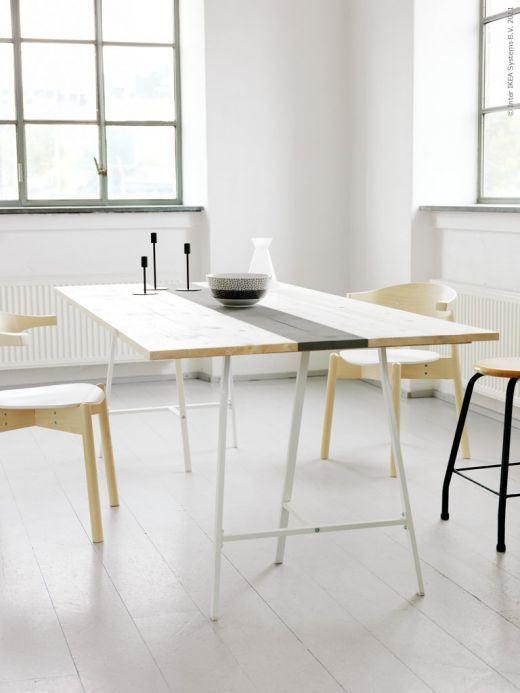 デスクにもダイニングにも。『IKEAの架台+天板』で自分好みのテーブル ... ダイニングテーブルとして