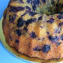 Easy Polish Lemon-Blueberry Bundt Cake using a lemon cake mix, sour cream, blueberries