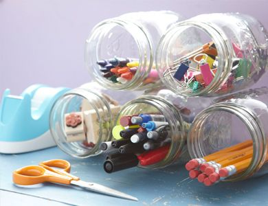 Glue mason jars together to create an office supply organizer: Ideas, Masons, Office Supplies, Mason Jars, Glass Jars, Diy, Crafts