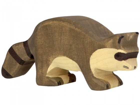 create the zoo farm or ocean of your dreams with all of the wooden holztiger animals including this wooden raccoon toy