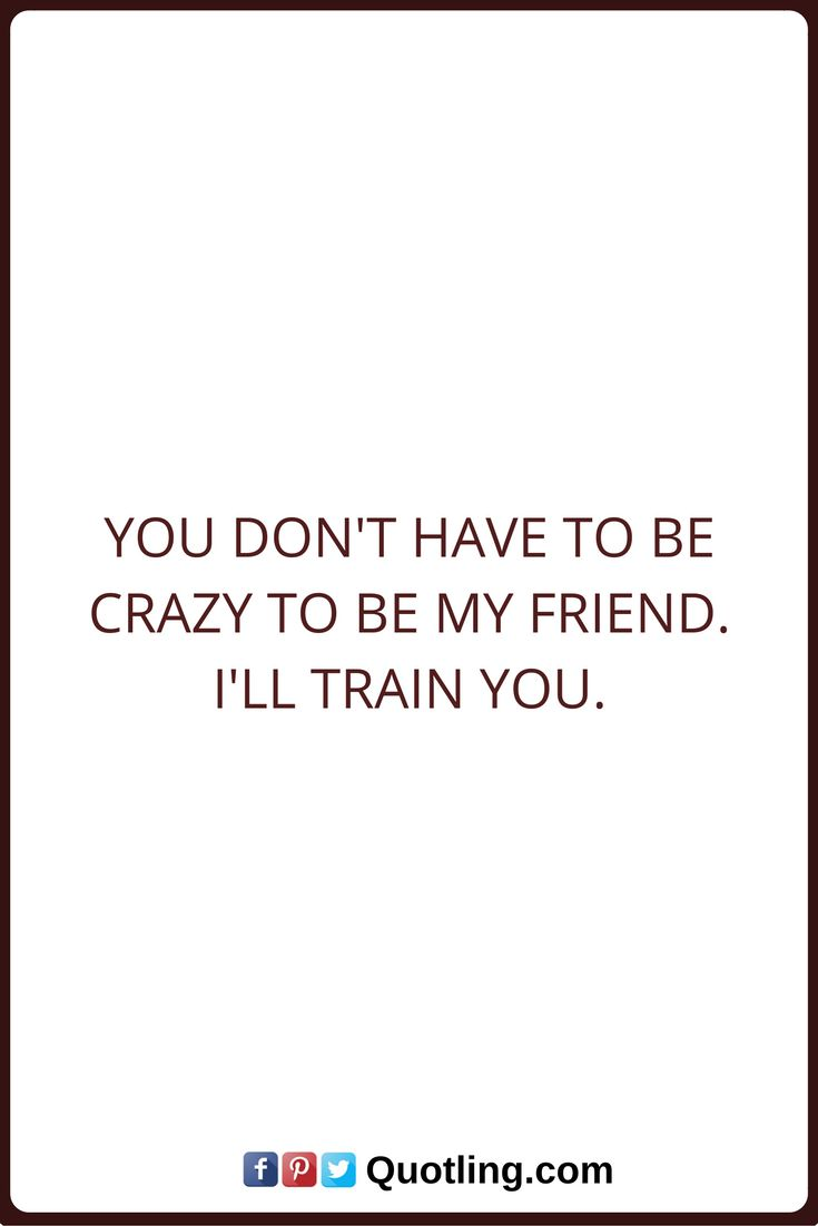 Friendship Quotes You don't have to be crazy to be my friend. I'll train you.