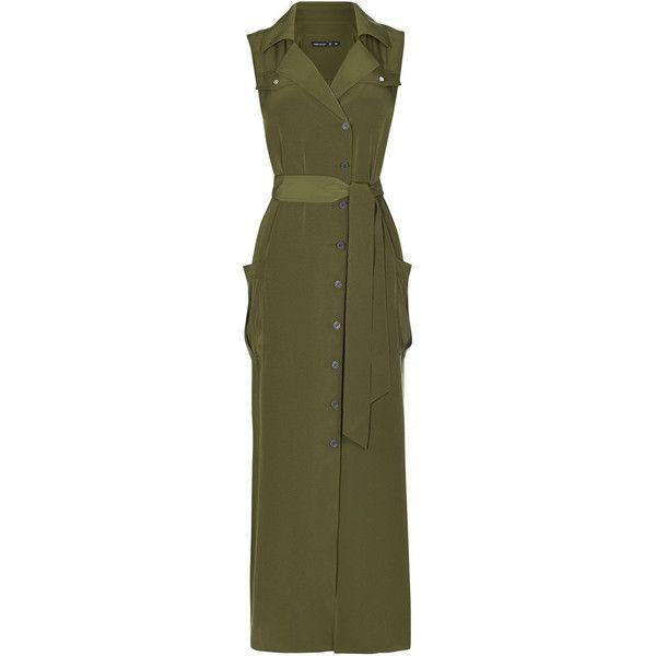 SATIN KHAKI SHIRT DRESS (3.105.075 IDR) ❤ liked on Polyvore featuring dresses, button-down shirt dresses, slim fit dress, brown shirt dress, satin dress and slimming dresses