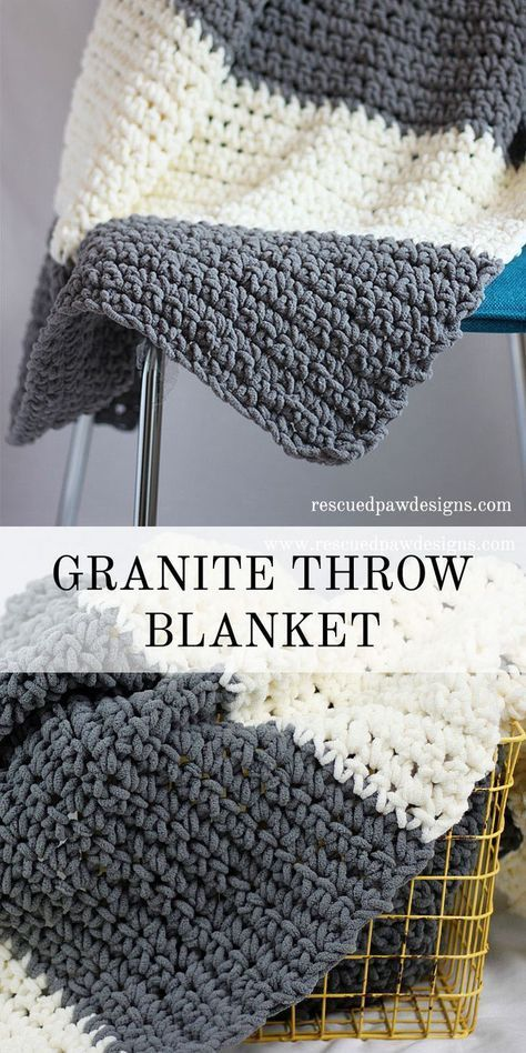 b8f8aa3516 The Granite Crochet Throw Blanket - Use just two colors and a simple stitch  pattern for a comfy