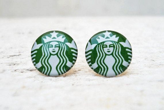Starbucks Coffee Earrings in Green White, Ear Studs Posts, Upcycled Jewelry These ear studs are lovely pair of handmade earrings. Super size - perfectly fits for everyday wearing to office or any other occasion at $10.92!