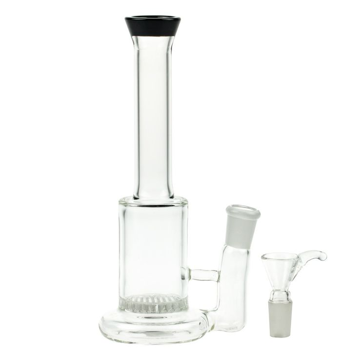 Glass Bubbler with HoneyComb Disc Perc | 14.5mm - Herb Bowl Included