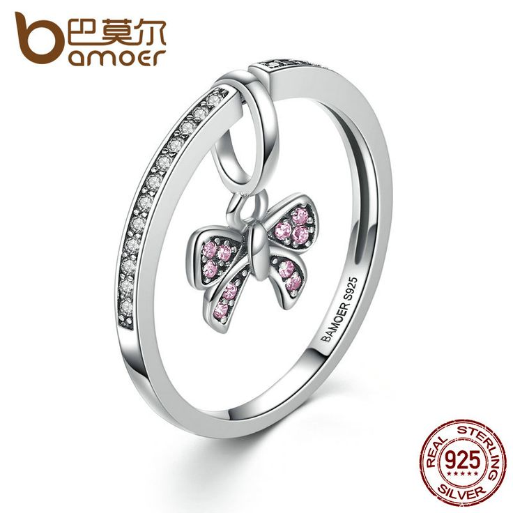 BAMOER Lovely Real 925 Sterling Silver Pink Bow Knot Finger Rings for Women and Girl Fashion DIY Jewelry SCR013