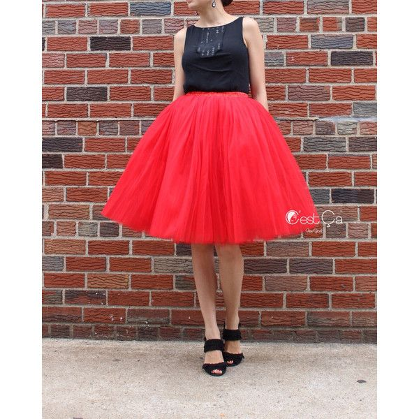 Clarisa Red Tulle Skirt 7-Layers Bright Coral Red Puffy Princess Tutu... ($89) ❤ liked on Polyvore featuring skirts, red tutu skirt, tulle tutu, ribbon tutu, red tutu and tulle skirt