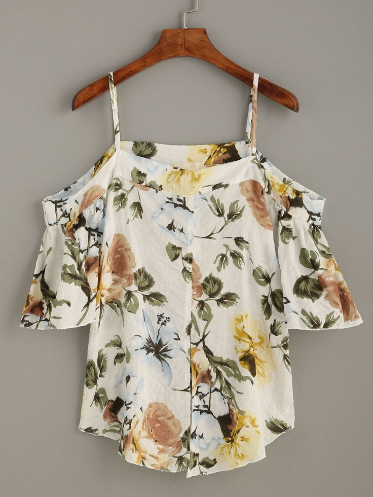 Blusa hombros al aire estampado floral - blanco-Spanish SheIn(Sheinside)