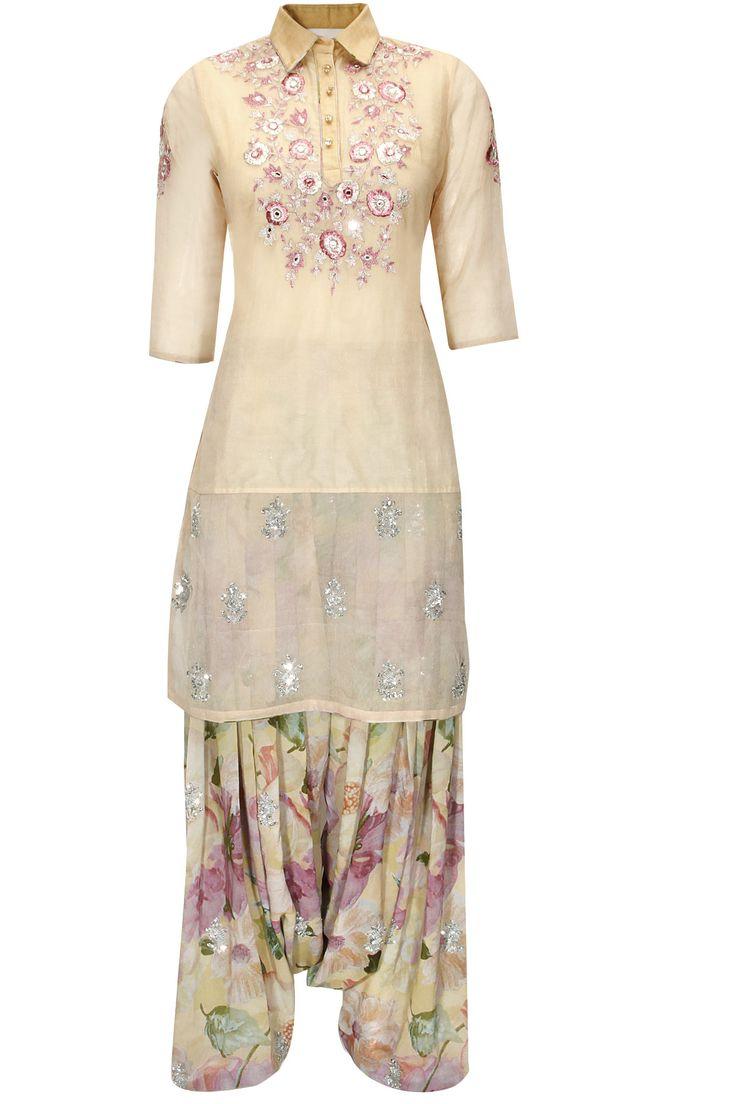Ivory embroidered kurta set by Shehla Khan. Shop now: http://www.perniaspopupshop.com/designers/shehla-khan #kurta #shehlakhan #shopnow #perniaspopupshop
