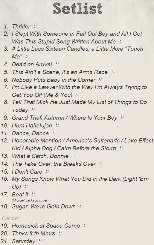 Fall Out Boy Tour Uk  Setlist