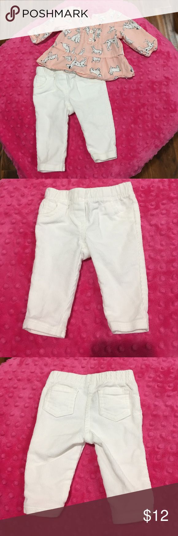 Carter's 2 pc pants set EUC. Light pink long sleeve with dogs top. White corduroy leggings. Carter's Matching Sets