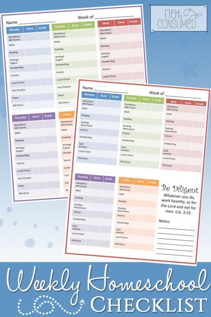 Organizing Your Student With A Weekly Homeschool Checklist