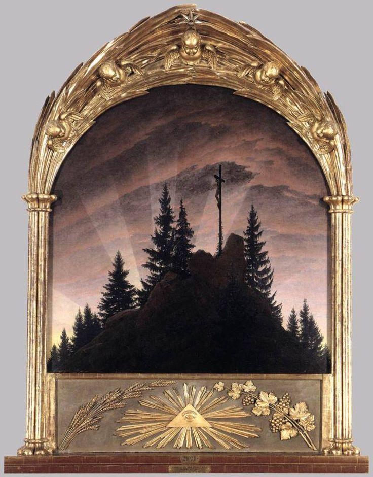 Caspar David Friedrich, Croce in montagna, Gemäldegalerie, Dresda