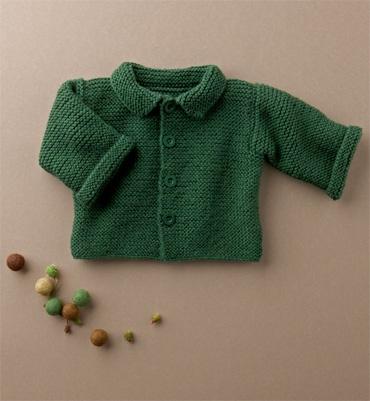 Modèle gilet bébé au point mousse - Catalogue Layette débutantes 64