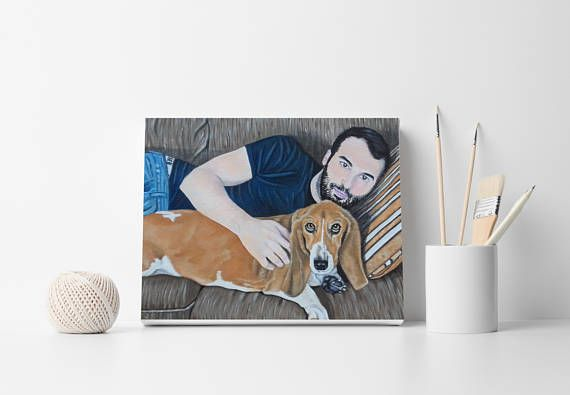 Custom portrait Dog with person portrait Custom pet portrait