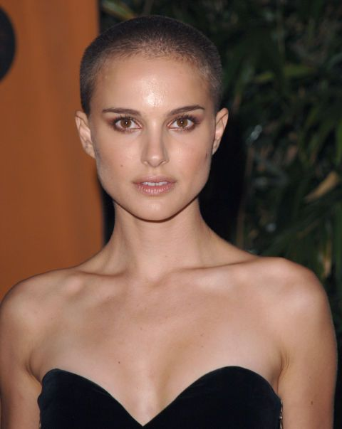 22 Female Stars Wearing Epically Badass Buzz Cuts  Natalie Portman famously shaved her head during an emotional scene in 2005's V for Vendetta.