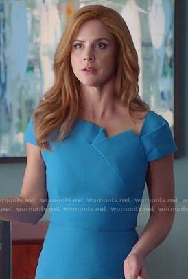 Donna's blue folded detail dress on Suits.  Outfit Details: http://wornontv.net/50639/ #Suits