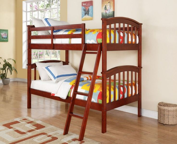 Our classic cherry bunk bed sets feature two twin beds in an adorable mission style with arches. These are great for saving space with a classic design to look adorable in any kid's bedroom. Easy to a