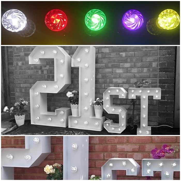 21st Large Light Up Letters for Birthday Celebrations.