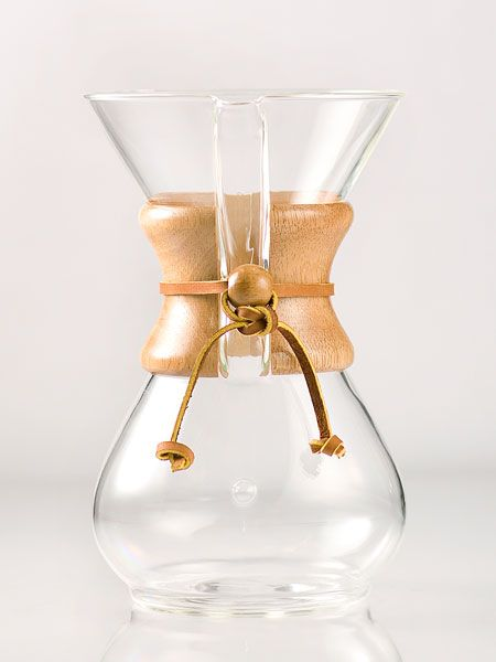 Jump-start your morning with a plastic-free cup of of coffee! This unique coffeemaker by Chemex is made of handblown glass and features a polished wood collar with leather tie.