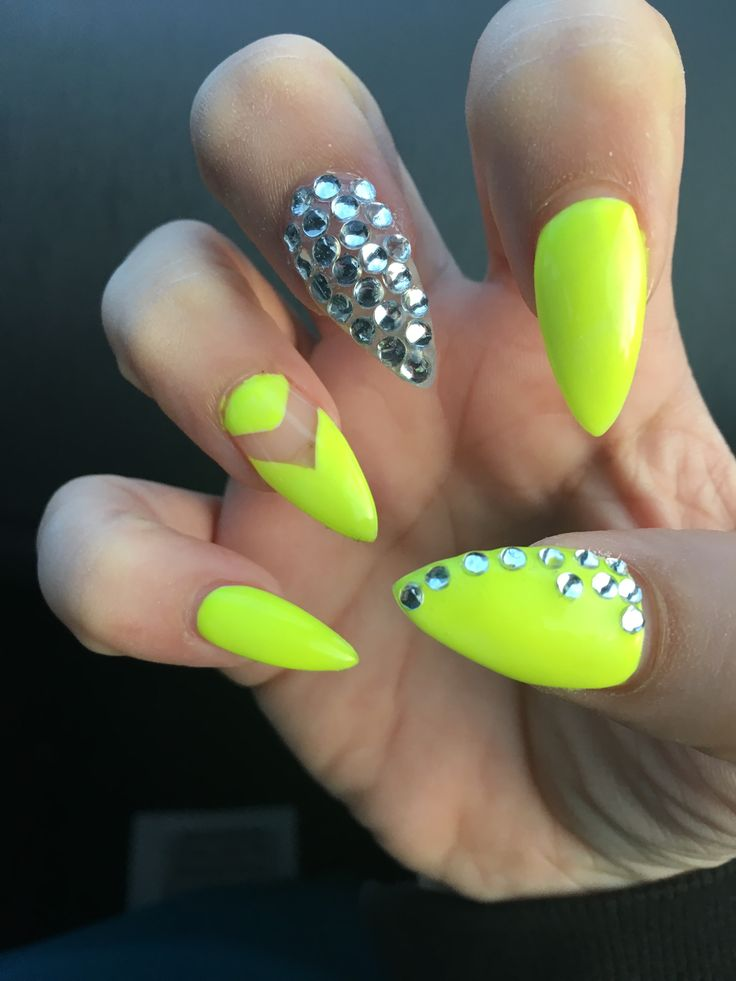 My spring neon yellow nails with rhinestones 2016