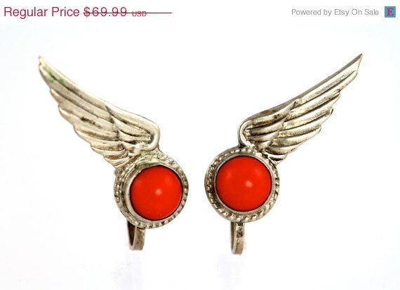 Valentine Sale Earrings Mexican Sterling Silver & Red Glass Winged Screw Back Earrings Vintage Mexico