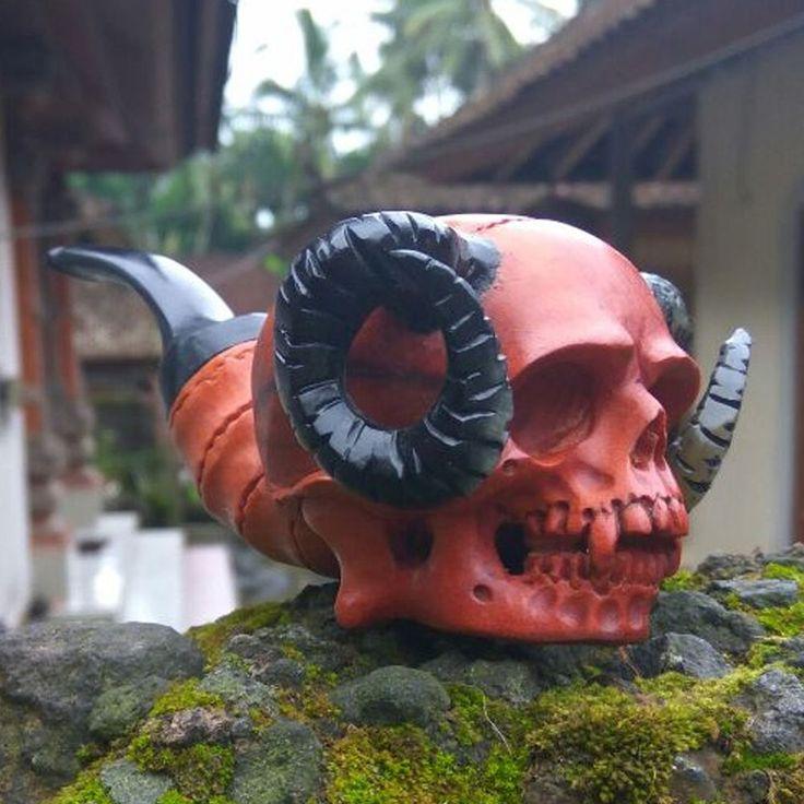 Hand Carved Wooden Tobacco Pipes Ram Skull Demon Carving Ebonit Stem #12