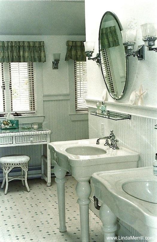 Linda Merrill Portfolio   Seaside Bedroom Suite   Master Bathroom, Vintage  Sinks, Mirrors,