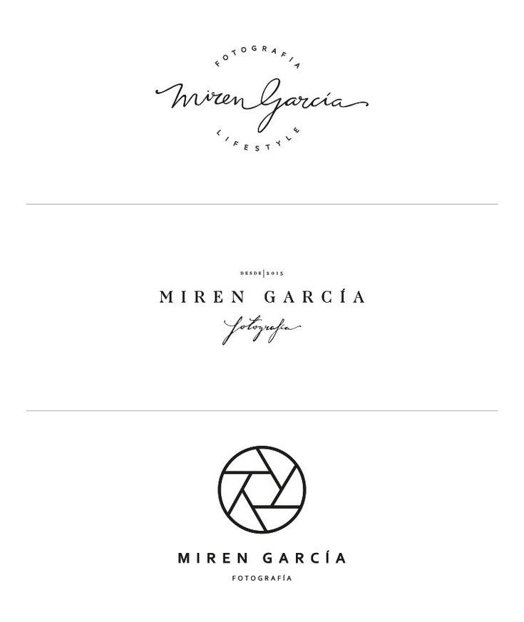 Proceso de creación de la nueva marca para Miren García fotografía. Bocetos de logotipos