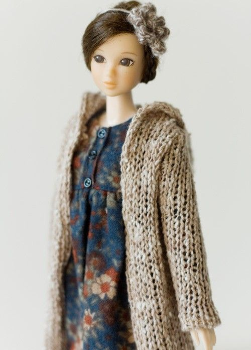 SugarBabyLove - Knit long jacket set for Momoko - doll outfit