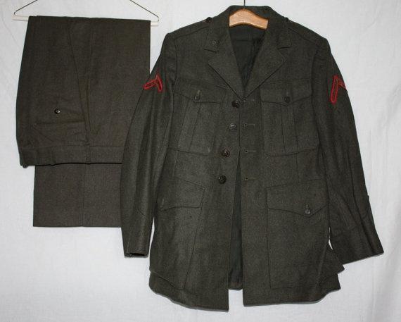 Vintage US Marines Uniform Tunic and Pants by ilovevintagestuff