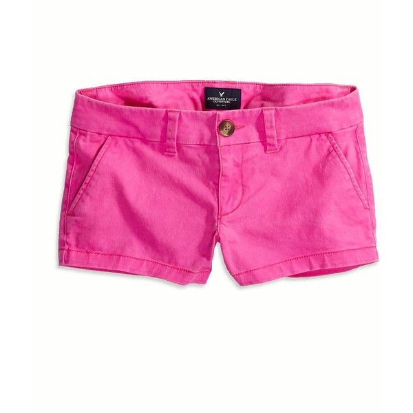 American Eagle Factory Twill Shorts (26 AUD) ❤ liked on Polyvore featuring shorts, pants, wild neon pink, twill shorts, american eagle outfitters shorts, american eagle outfitters, low rise shorts and neon pink shorts