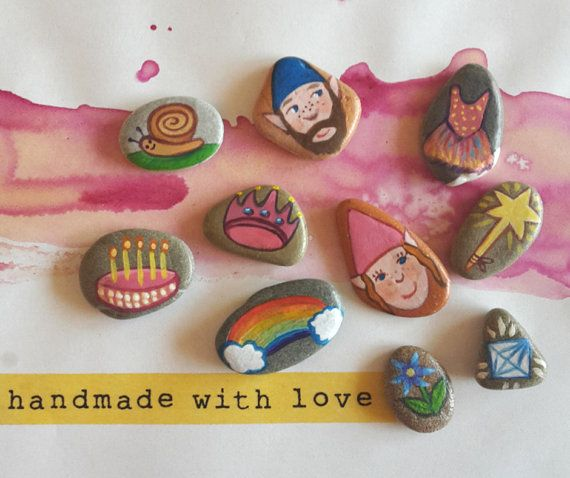 Unique gift for kids! Waldorf Birthday Story Stones great for parent-child quality time. Hand painted with care Party favors for childrens! by Claudia Nanni Fine Art on Etsy