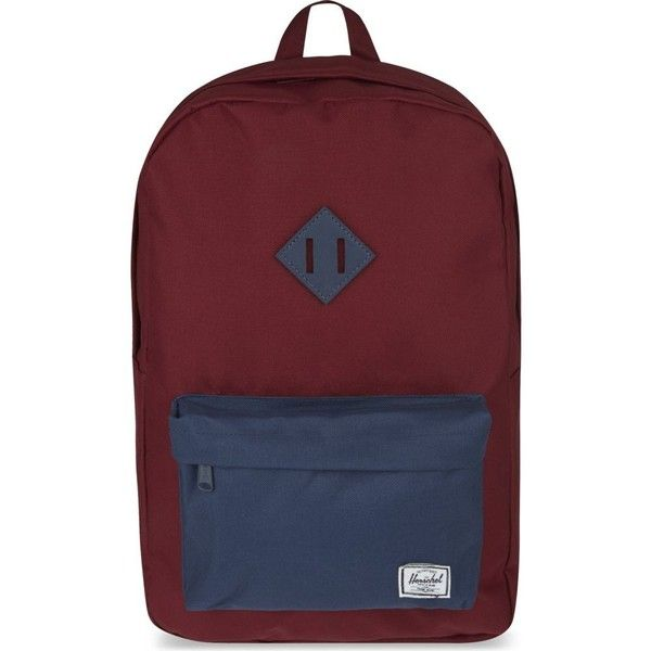 HERSCHEL SUPPLY CO Heritage backpack ($82) ❤ liked on Polyvore featuring bags, backpacks, herschel supply co bag, red bag, red backpack, herschel supply co. and herschel supply co backpack