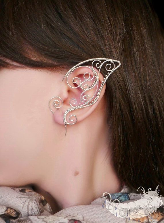 Elf Bride - elf ears, no piercing ear cuff, elven ear cuffs, silver plated jewelry, wire wrappped ear cuffs
