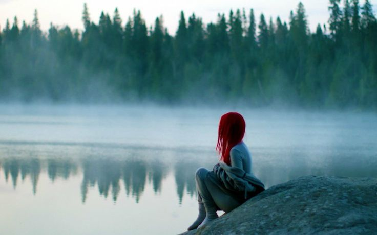 lonely girl on the lake wallpaper | wallpapers | Pinterest ...