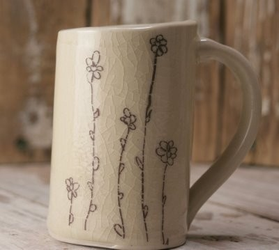 ceramic flower mug/little brown pen
