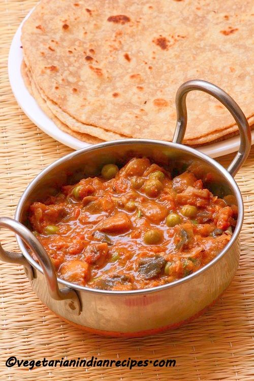 Matar mushroom masala is a tasty side dish for rice, roti or chapati made with mushroom and peas.  This dish is cooked in a basic onion tomato gravy.  Do try it out. You will love it..  Click the link for the recipe.. http://www.vegetarianindianrecipes.com/2015/07/matar-mushroom-masala-recipe-mushroom-peas-masala-recipe-mushroom-peas-masala-curry.html