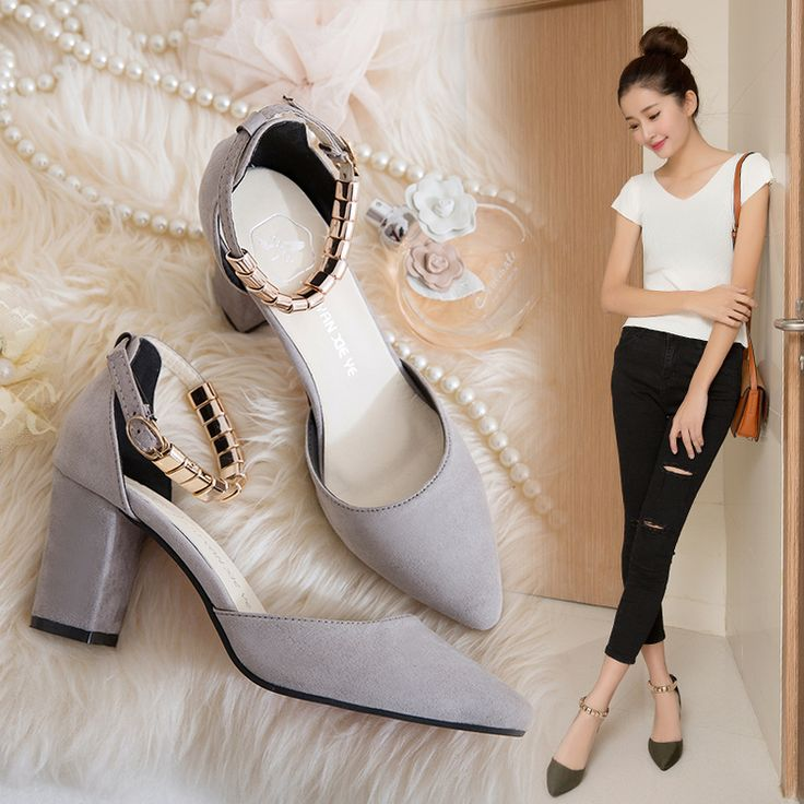 Spring new single shoes Korean suede pointed word buckle Baotou sandals ankle strap thick with shallow mouth with women's shoes