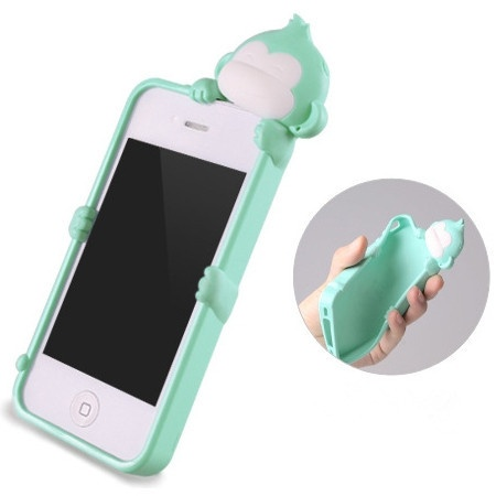 Cute Mint Green Monkey Silicone Case Cover for iPhone 4 4S 4G Screen Protector | eBay